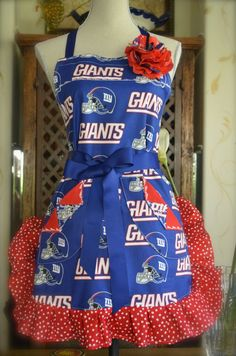 NY Giants Football Ruffled Polka Dot  Apron by OliviabyDesign. I need this for cooking football Sunday dinners!