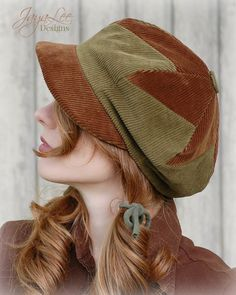 Corduroy Patchwork Newsboy Hat in Rustic Fall Colors by GreenTrunkDesigns