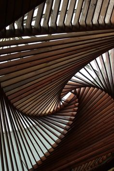 stair, pattern, ceiling design, swirl, architecture interiors, natural wood, spiral, museum, curv