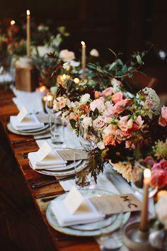 flower-filled reception table, photo by Pat Furey http://ruffledblog.com/brooklyn-wedding-with-breathtaking-floral-design #weddingreception #tablescape