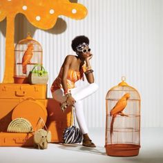 orang event, style crush, bird cage, birdcag, oranges
