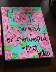 8x10 Wood Backed Lilly Pulitzer Inspired by PreppyPaintedPrints, $24.99
