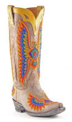 Womens Old Gringo Eagle Chaquira Cowboy Boots Multi #L1567-3 #cowgirl #western #eagle