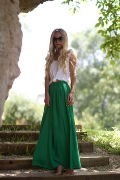 Do a green maxi skirt with a tied up white tee maxi dresses, fashion models, emerald, outfit, long skirts, kelly green, knot, green day, maxi skirts
