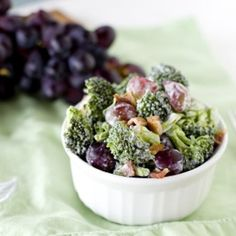 Bacon Broccoli Salad  Ingredients   5 cups bite sized broccoli pieces   3 slices bacon, cooked and chopped   2 cups red grapes, sliced in half   1/4 cup heavy cream   1 tsp cider vinegar   2 TBS honey   to taste salt and pepper