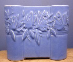 "NELSON McCOY POTTERY 1940s Matte Pastel Blue BUTTERFLY Castle Gate VASE 6"" AS IS 