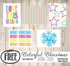 Free Colorful Christmas Journal Cards for Project Life
