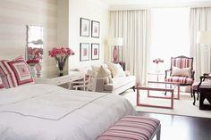 Park Hyatt Hotel Suite Layout decor, sarah richardson, pink rooms, sitting rooms, master bedrooms, striped walls, pink bedrooms, sitting areas, design