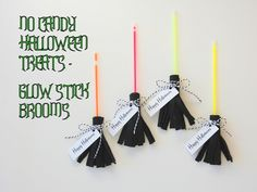 Glow Stick Brooms for Halloween ( a candy free alternative for classroom treats )