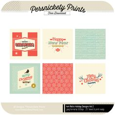 Download free 4x4Retro Holiday Cards | can be used in Dec Daily OR as Gift Tags!