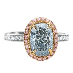Gray Blue GIA Certified Diamond Ring