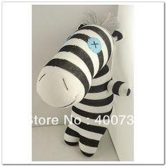 free shipping 100% handmade DIY stuffed sock animals doll baby toys sock zebra
