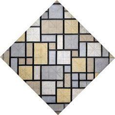Composition with grid 5: lozenge, composition with colours    1919    Piet Mondriaan (1872 - 1944)    oil on canvas