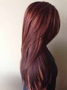 Red brown hair with highlights.