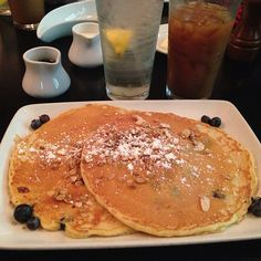 Blueberry Orange Granola Pancakes recipe served at Kouzzina at Boardwalk Resort in Disney World
