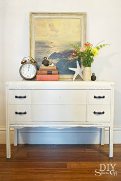 diyshowoff.com - painted dresser tutorial, Maison Blanche furniture paint & lime wax