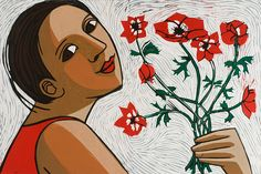 Anemones - Linocut by Anita Klein