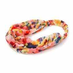 Bright Floral Print Knotted Chiffon Headwrap