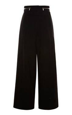 Black Suiting Cropped High Waisted Snap Front Pant by Proenza Schouler