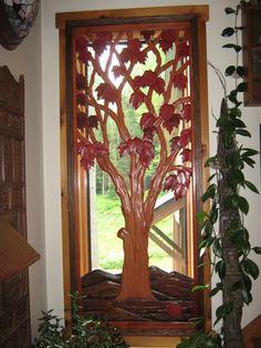 Carved Maple Tree Window Insert