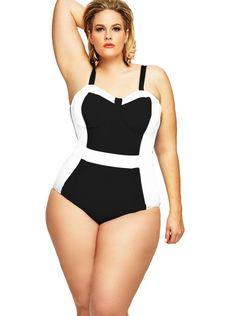 """St. Vincent"" Colorblock Plus Size Swimsuit w/Underwire- Black/White - Underwire Swimsuits - Swimwear - Monif C"