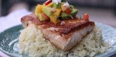 Pan Seared Mahi Mahi with Fruit Salsa  over cauliflower rice Looks yummy.