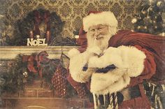 A real authentic Christmas photo of a vintage looking Real Santa Claus saying ssh, be quiet. Real Santa Pictures and This images can be licensed to use at realsantaimages.com | Do Not Use Without A License