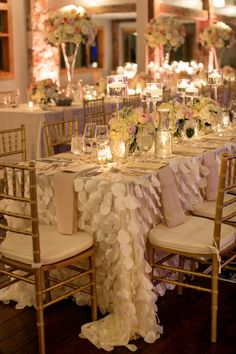 Draped Petal Table Linens reception decor
