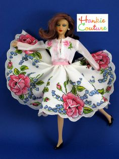 Doll dress made from vintage hankies