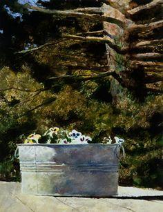 Jamie Wyeth, Galvanized Pansies, 1990