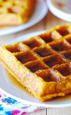 Pumpkin waffles - moist, light and fluffy, with LOTS of pumpkin.