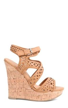 Deb Shops Platform Heel with #Cork #Wedge and Cutout Bands and Ankle Strap $36.90