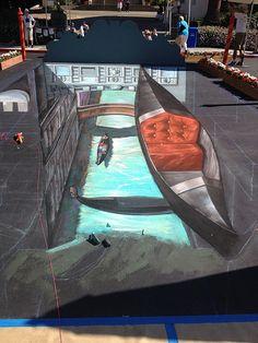 'Flying Gondolas of Venice' - 3d Streetpainting
