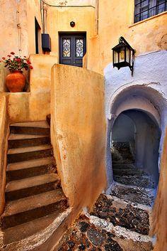 Secret path in #Santorini, Greece