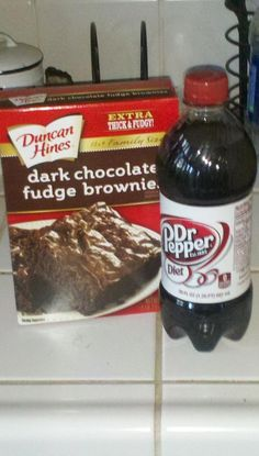 One box brownie mix (or cake mix) 1 cup diet cola my fav is Dr. Pepper(or more or less - make it to a consistency you like) bake as directed on box. This lowers the calorie and fat content of the brownies!!