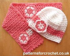 Crochet ~  Hat & Scarf Set- Free Pattern ☆