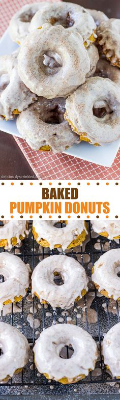 Baked Pumpkin Donuts with Cinnamon Glaze- a family favorite donut recipe that everyone will love!