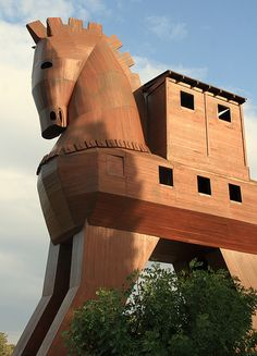 Replica of the Trojan Horse, archeological site of ancient Troy, near Çanakkale, Marmara, Turkey