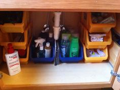 Under the counter bathroom organization, thank you dollar tree for the amazing bins!