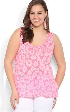 Deb Shops #Neon #Pink Plus Size Daisy High Low Tank Top $12.53