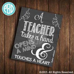 Personalized Teacher Print  - Teacher Gift - End of School Year Gift - Great Teacher - Printable - Customized - Chalkboard on Etsy, $10.00