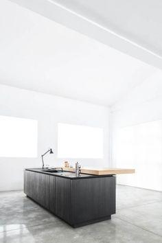 #interior design #kitchens #kitchen islands #dark wood cabinetry #minimalism #white #light