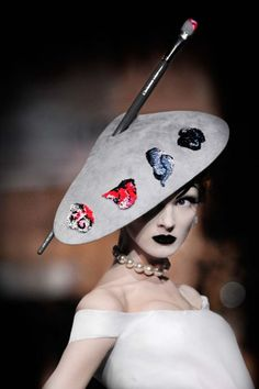 Olga Sherer at Christian Dior Haute Couture Autumn Winter 2007 | hat designed by Stephen Jones