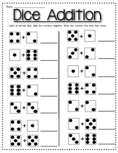 Dice Addition Worksheet *Plus* Partner Dice Addition Game addition ...