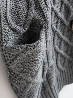 Gray Cable Cardigan with Pockets