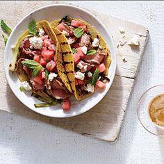 Spicy Flank Steak Tacos with Watermelon Salsa | MyRecipes.com #myplate #protein #fruit