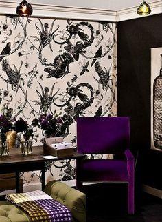 Timorous Beasties; 'Iguana' Wallpaper.