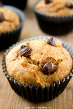 Chocolate Chip Pumpkin Muffins - these skinny muffins are soft and fluffy and so delicious! Packed with pumpkin, spices and chocolate!