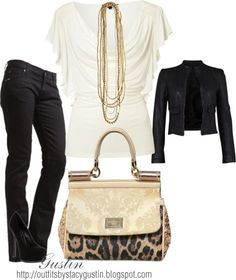 """cream and black"" by stacy-gustin on Polyvore"