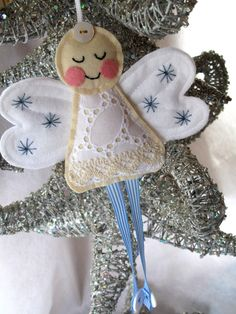 animals, fairies, christmas decorations, felt christmas ideas, christmas angels, christma craft, felt angel, angel diy, lace angel